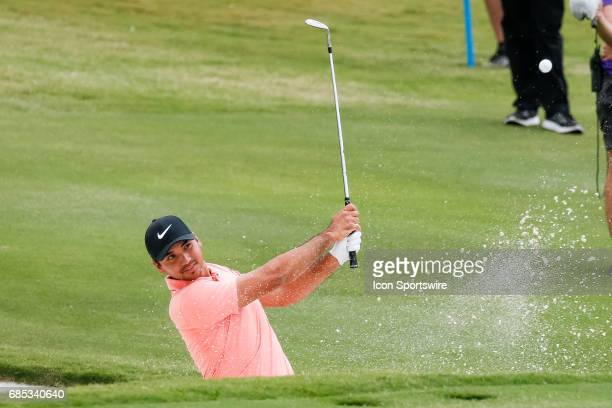 Jason Day of Australia hits out of a bunker on during the second round of the ATT Byron Nelson on May 19 2017 at the TPC Four Seasons Resort in...