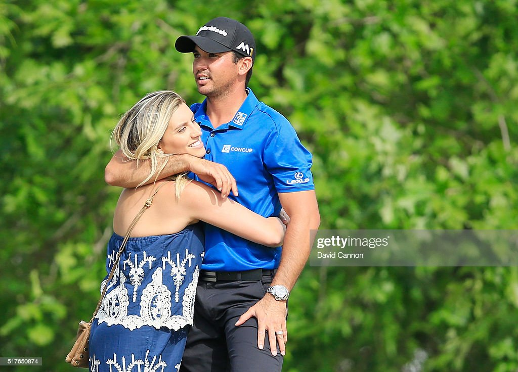 Jason Day of Australia hugs his wife Ellie after winning his match against Brooks Koepka in the round of 8 in the World Golf Championships-Dell Match Play at the Austin Country Club on March 26, 2016 in Austin, Texas.