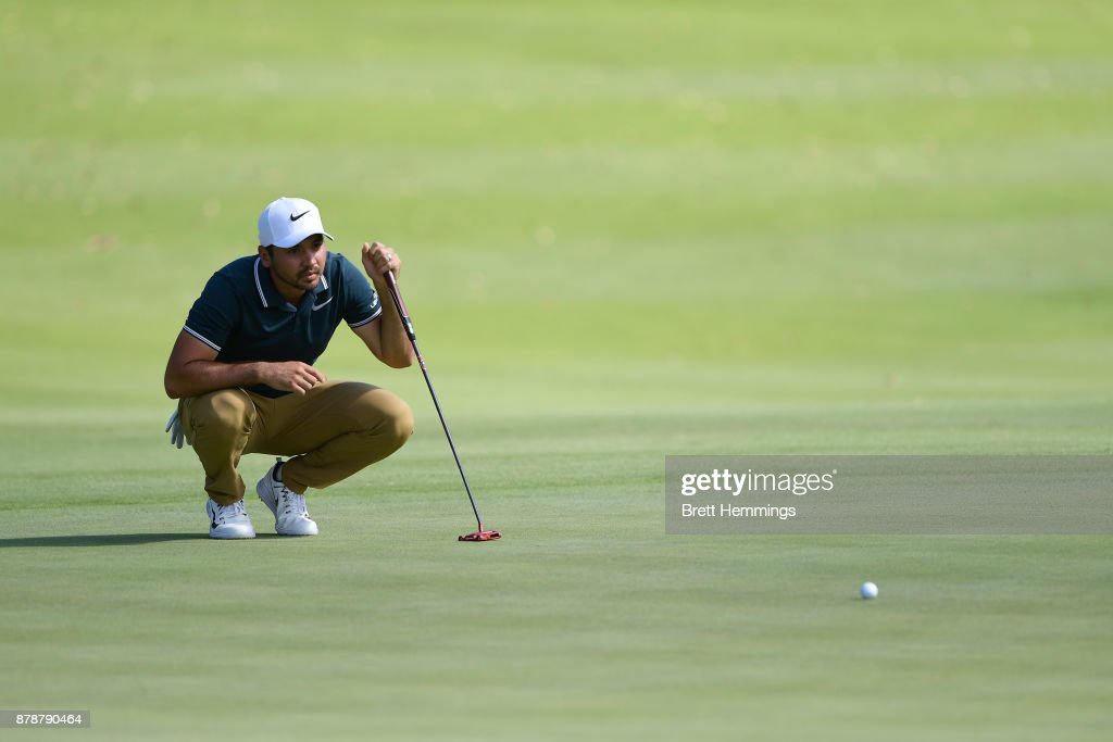 Jason Day of Australia inspects the run of the green on the 15th hole during day three of the 2017 Australian Golf Open at The Australian Golf Club on November 25, 2017 in Sydney, Australia.
