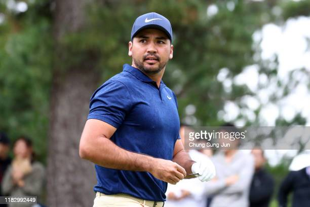 Jason Day of Australia is seen on the 11th tee during the first round of the ZOZO Championship at Accordia Golf Narashino Country Club on October 24,...