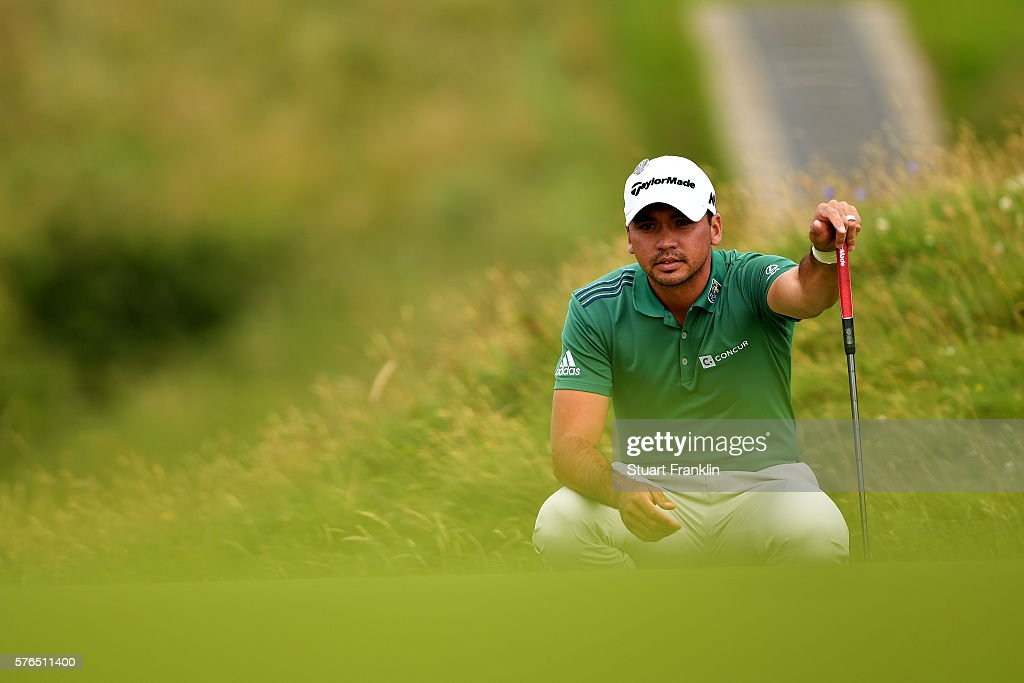 Jason Day of Australia lines up a putt at the 8th during the second round on day two of the 145th Open Championship at Royal Troon on July 15, 2016 in Troon, Scotland.