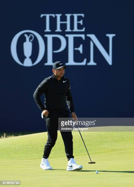 Jason Day of Australia lines up a putt on the 18th hole during the first round of the 146th Open Championship at Royal Birkdale on July 20 2017 in...