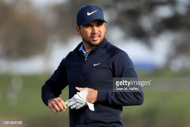 Jason Day of Australia looks on during the Pro-Am for the 2020 Farmers Insurance Open at Torrey Pines Golf Course on January 22, 2020 in San Diego,...
