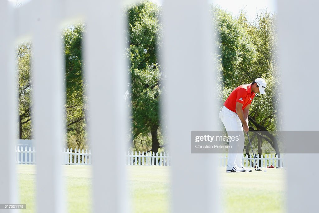 Jason Day of Australia on the practice putting green after he had been conceded his match when his opponent Paul Casey fell ill during the third round of the World Golf Championships-Dell Match Play at the Austin Country Club on March 25, 2016 in Austin, Texas.