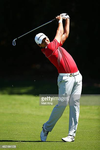 Jason Day of Australia plays a fairway shot during pracice ahead of the 2013 Australian Open at Royal Sydney Golf Club on November 27 2013 in Sydney...