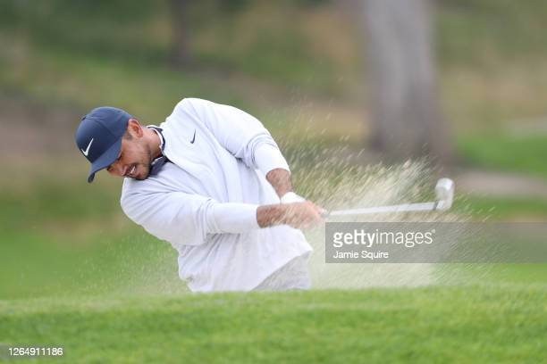 Jason Day of Australia plays a second shot on the 18th hole during the final round of the 2020 PGA Championship at TPC Harding Park on August 09,...