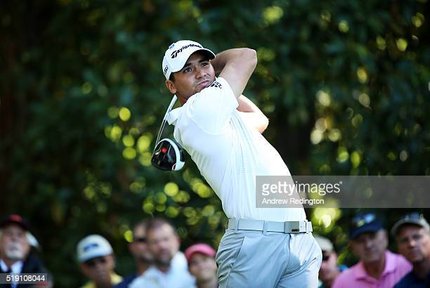 Jason Day of Australia plays a shot during a practice round prior to the start of the 2016 Masters Tournament at Augusta National Golf Club on April...