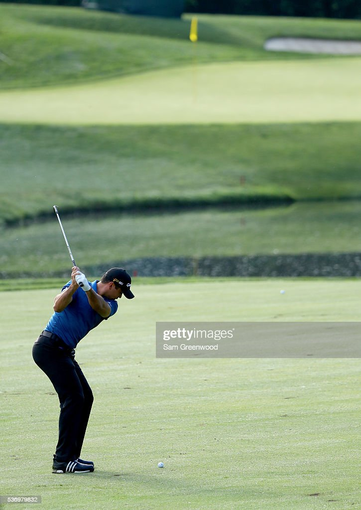 Jason Day of Australia plays a shot during a pro-am round prior to The Memorial Tournament Presented By Nationwide at Muirfield Village Golf Club on June 1, 2016 in Dublin, Ohio.