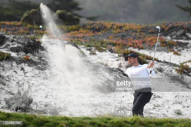 Jason Day of Australia plays a shot from a bunker on the third hole during the third round of the ATT Pebble Beach ProAm at Spyglass Hill Golf Course...