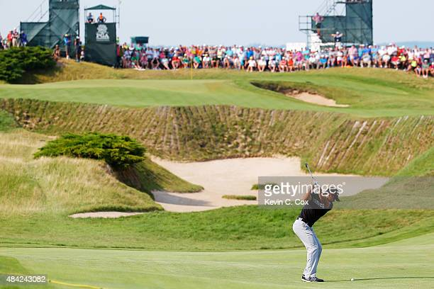 Jason Day of Australia plays a shot on the 11th hole during the final round of the 2015 PGA Championship at Whistling Straits on August 16, 2015 in...