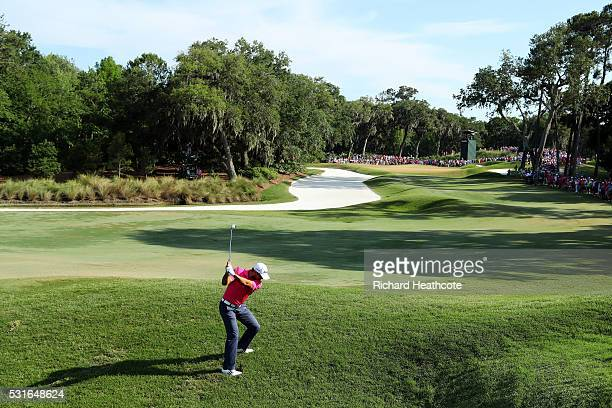 Jason Day of Australia plays a shot on the 14th hole during the final round of THE PLAYERS Championship at the Stadium course at TPC Sawgrass on May...