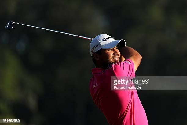 Jason Day of Australia plays a shot on the 18th hole during the final round of THE PLAYERS Championship at the Stadium course at TPC Sawgrass on May...