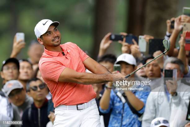 Jason Day of Australia plays a shot on the 1st hole during The Challenge: Japan Skins at Accordia Golf Narashino Country Club on October 21, 2019 in...