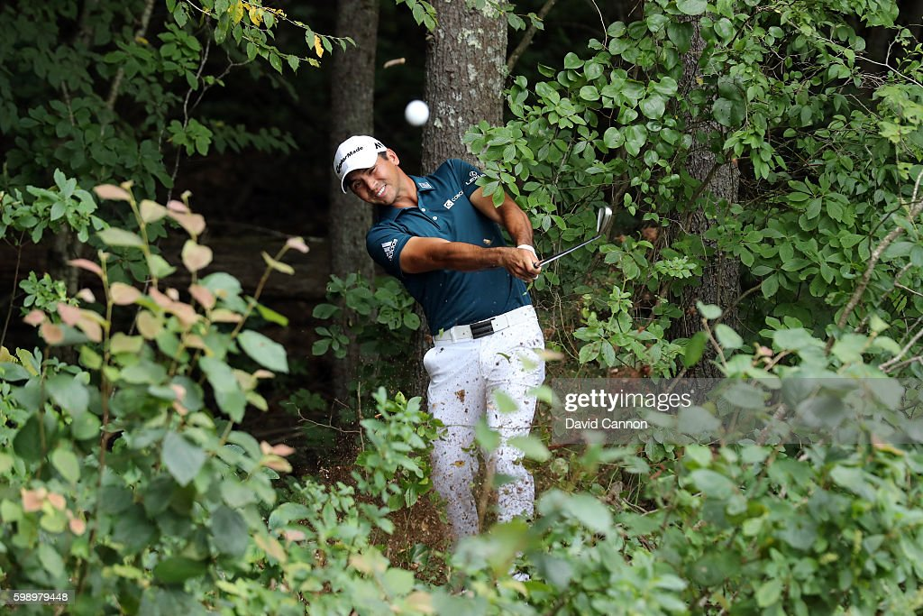Jason Day of Australia plays a shot on the fifth hole during the second round of the Deutsche Bank Championship at TPC Boston on September 3, 2016 in Norton, Massachusetts.