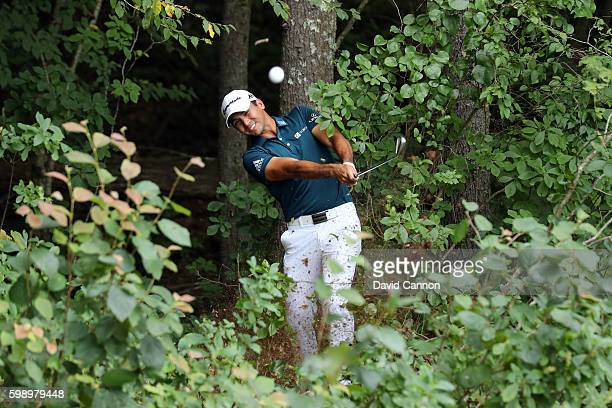 Jason Day of Australia plays a shot on the fifth hole during the second round of the Deutsche Bank Championship at TPC Boston on September 3 2016 in...