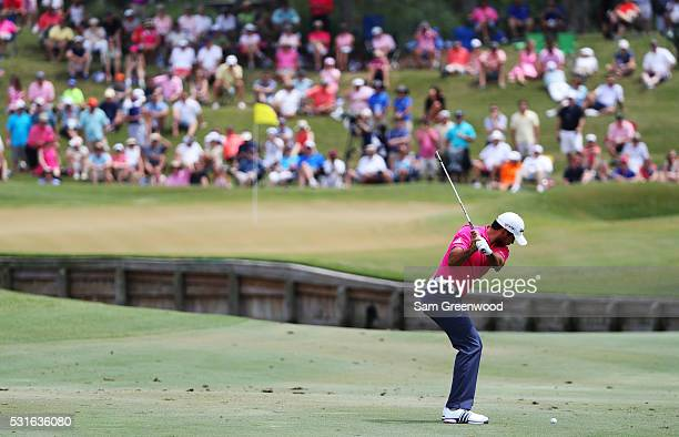 Jason Day of Australia plays a shot on the fourth hole during the final round of THE PLAYERS Championship at the Stadium course at TPC Sawgrass on...