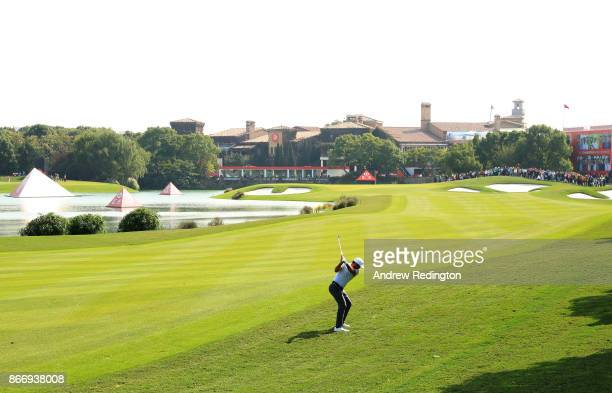 Jason Day of Australia plays a shot on the second hole during the second round of the WGC HSBC Champions at Sheshan International Golf Club on...