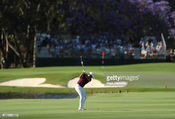 Jason Day of Australia plays an approach shot on the 17th hole during day one of the 2017 Australia Golf Open at The Australia Golf Club on November...