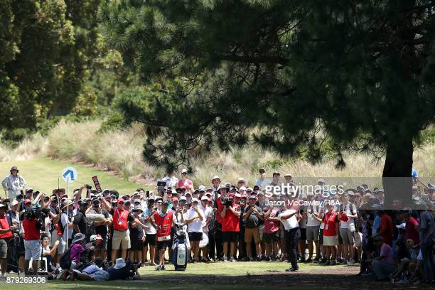 Jason Day of Australia plays an approach shot on the 5th hole during day four of the 2017 Australian Golf Open at the Australian Golf Club on...