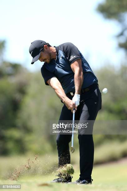 Jason Day of Australia plays an approach shot on the 7th hole during day two of the 2017 Australian Golf Open at the Australian Golf Club on November...