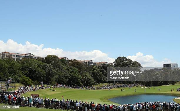 Jason Day of Australia plays an approach shot on the 9th hole during day one of the 2017 Australia Golf Open at The Australia Golf Club on November...