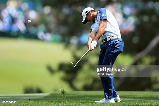 Jason Day of Australia plays his second shot on the first hole during the final round of the 2016 Masters Tournament at Augusta National Golf Club on...