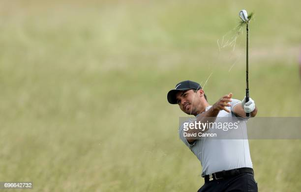 Jason Day of Australia plays his second shot on the par 4, 11th hole during the second round of the 117th US Open Championship at Erin Hills on June...