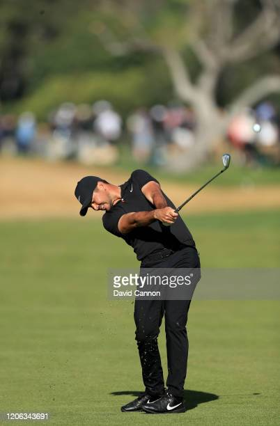 Jason Day of Australia plays his second shot on the par 4, 13th hole during the second round of the Genesis Invitational at The Riviera Country Club...