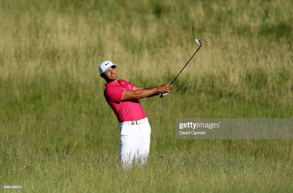 Jason Day of Australia plays his second shot on the par 4, 15th hole during the first round of the 117th US Open Championship at Erin Hills on June 15, 2017 in Hartford, Wisconsin.