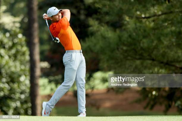 Jason Day of Australia plays his second shot on the second hole during the third round of the 2017 Masters Tournament at Augusta National Golf Club...
