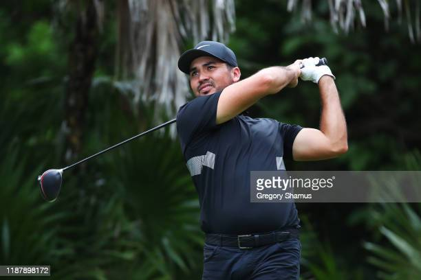 Jason Day of Australia plays his shot from the 13th tee during the first round of the Mayakoba Golf Classic at El Camaleon Mayakoba Golf Course on...