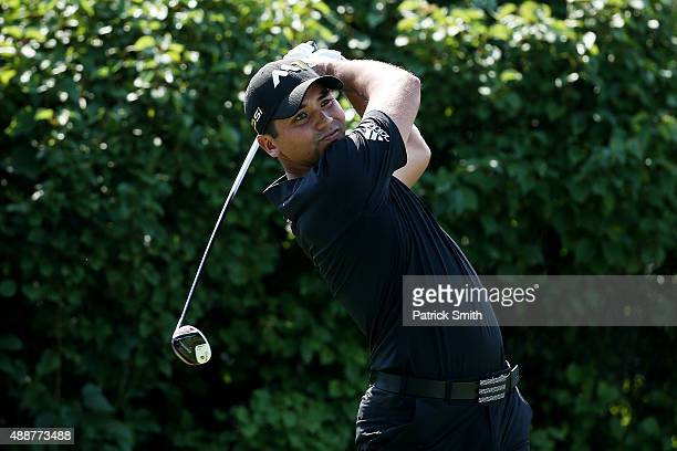 Jason Day of Australia plays his shot from the 13th tee during the First Round of the BMW Championship at Conway Farms Golf Club on September 17,...