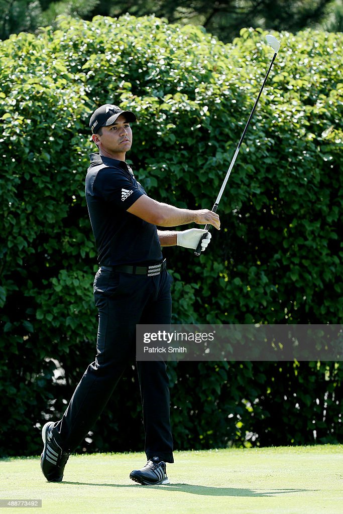 Jason Day of Australia plays his shot from the 13th tee during the First Round of the BMW Championship at Conway Farms Golf Club on September 17, 2015 in Lake Forest, Illinois.