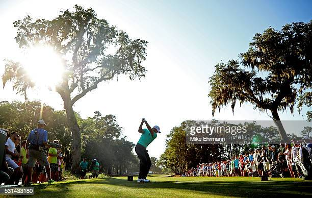 Jason Day of Australia plays his shot from the 15th tee during the third round of THE PLAYERS Championship at the Stadium course at TPC Sawgrass on...