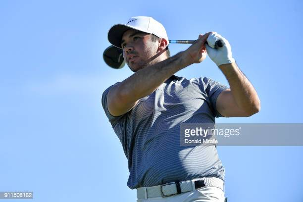Jason Day of Australia plays his shot from the 15th tee during the final round of the Farmers Insurance Open at Torrey Pines South on January 28 2018...