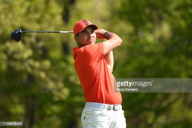 Jason Day of Australia plays his shot from the 16th tee during the second round of the 2019 PGA Championship at the Bethpage Black course on May 17...