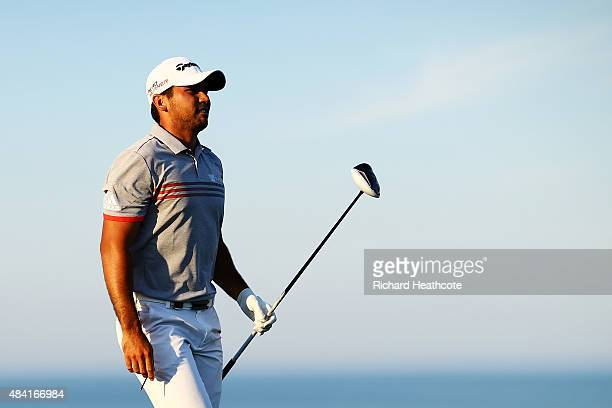 Jason Day of Australia plays his shot from the 16th tee during the third round of the 2015 PGA Championship at Whistling Straits on August 15 2015 in...