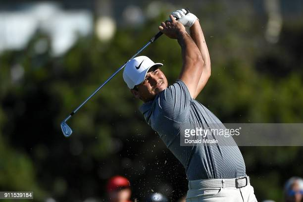 Jason Day of Australia plays his shot from the 16th tee during the final round of the Farmers Insurance Open at Torrey Pines South on January 28 2018...