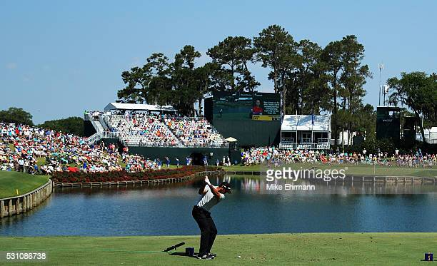 Jason Day of Australia plays his shot from the 17th tee during the first round of THE PLAYERS Championship on May 12 2016 in Ponte Vedra Beach Florida