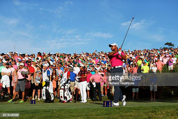 Jason Day of Australia plays his shot from the 18th tee during the final round of THE PLAYERS Championship at the Stadium course at TPC Sawgrass on...