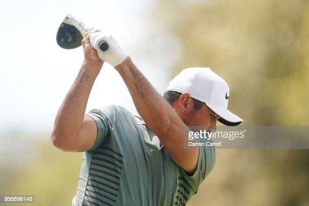 Jason Day of Australia plays his shot from the eighth tee during the first round of the World Golf ChampionshipsDell Match Play at Austin Country...