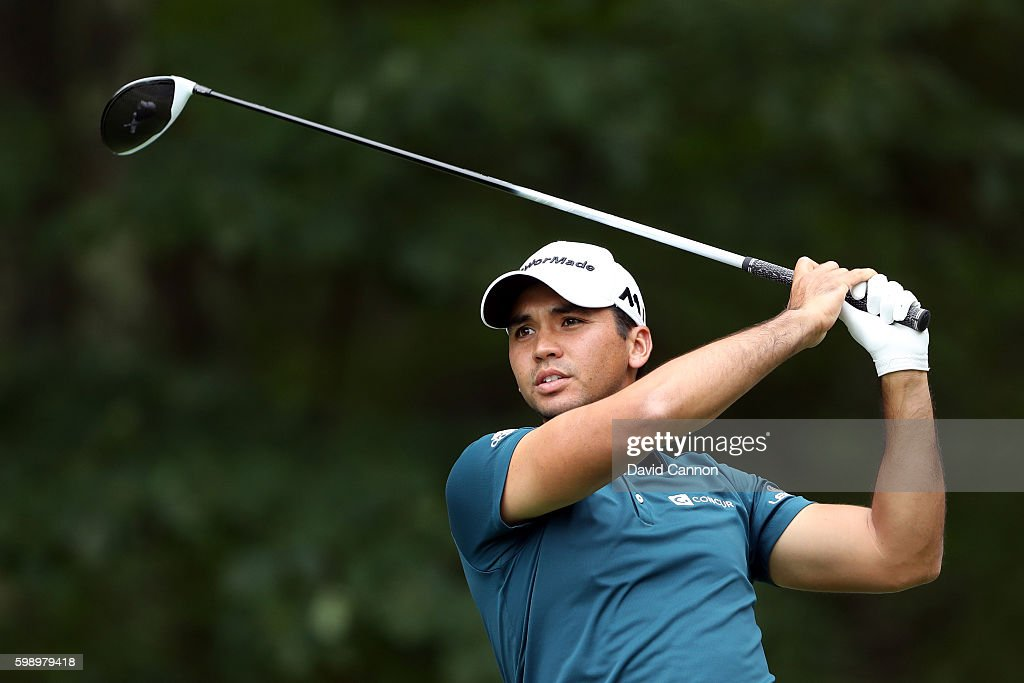 Jason Day of Australia plays his shot from the fifth tee during the second round of the Deutsche Bank Championship at TPC Boston on September 3, 2016 in Norton, Massachusetts.