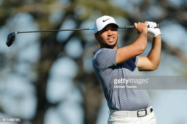Jason Day of Australia plays his shot from the fifth tee during the final round of the Farmers Insurance Open at Torrey Pines South on January 28...