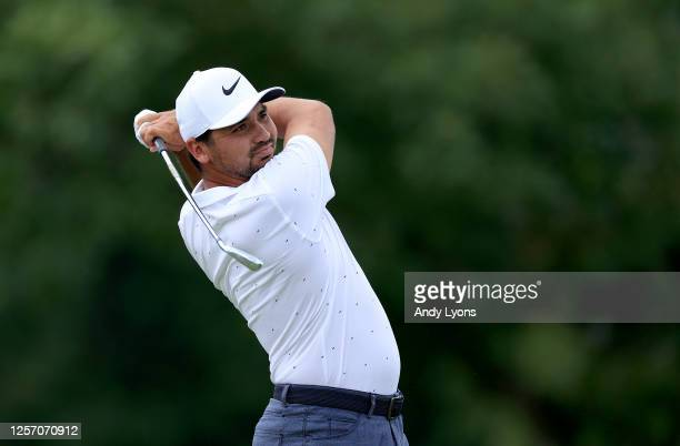 Jason Day of Australia plays his shot from the first tee during the final round of The Memorial Tournament on July 19, 2020 at Muirfield Village Golf...