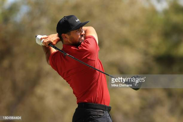Jason Day of Australia plays his shot from the first tee during the final round of World Golf Championships-Workday Championship at The Concession on...
