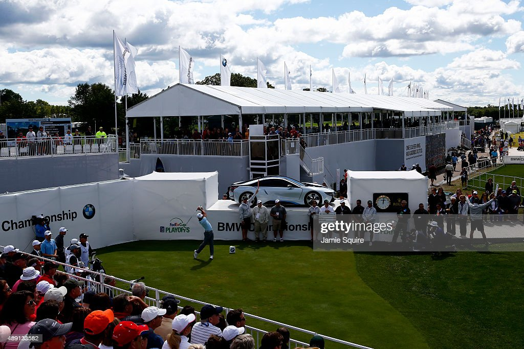Jason Day of Australia plays his shot from the first tee during the Third Round of the BMW Championship at Conway Farms Golf Club on September 19, 2015 in Lake Forest, Illinois.