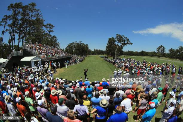 Jason Day of Australia plays his shot from the first tee during the second round of THE PLAYERS Championship at the Stadium course at TPC Sawgrass on...