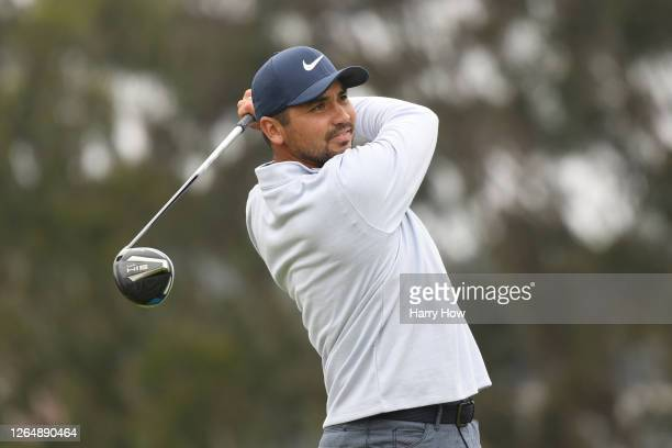 Jason Day of Australia plays his shot from the fourth tee during the final round of the 2020 PGA Championship at TPC Harding Park on August 09, 2020...