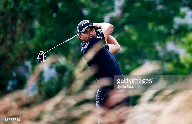 Jason Day of Australia plays his shot from the fourth tee during the First Round of the BMW Championship at Conway Farms Golf Club on September 17,...