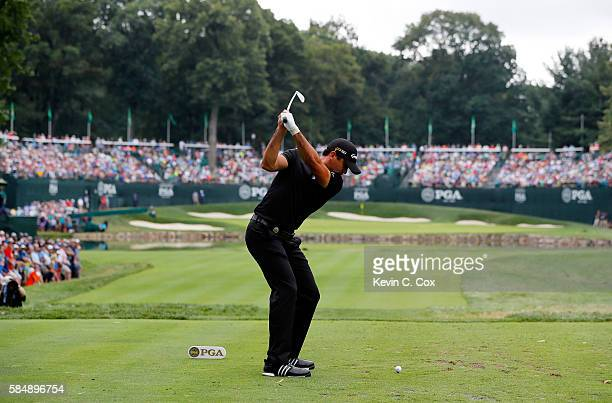 Jason Day of Australia plays his shot from the fourth tee during the final round of the 2016 PGA Championship at Baltusrol Golf Club on July 31 2016...